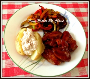 My Sticky wings with jacket potato and saute pepper and aubergine