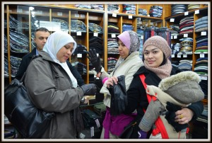 The ladies were trying leather gloves in one of the shops near Spice Bazaar