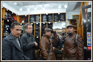 The guys with their brand new leather jackets (from Grand Bazaar)and trying a leather beret.