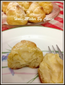 cream puff with vanilla pastry cream