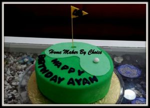 My other half birthday cake for this year...golf theme